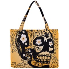 Sugar Skull In Black And Yellow Tiny Tote Bags