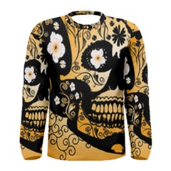 Sugar Skull In Black And Yellow Men s Long Sleeve T-shirts