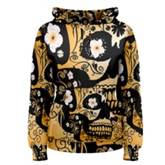 Sugar Skull In Black And Yellow Women s Pullover Hoodies