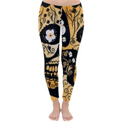 Sugar Skull In Black And Yellow Winter Leggings