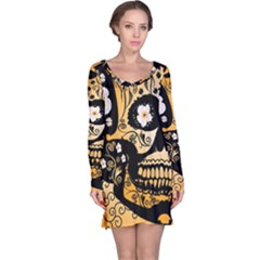 Sugar Skull In Black And Yellow Long Sleeve Nightdresses