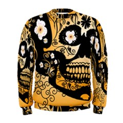 Sugar Skull In Black And Yellow Men s Sweatshirts