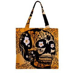 Sugar Skull In Black And Yellow Zipper Grocery Tote Bags