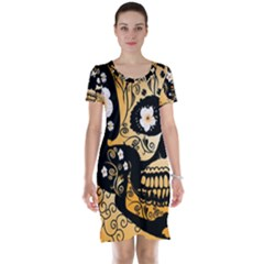 Sugar Skull In Black And Yellow Short Sleeve Nightdresses
