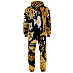 Sugar Skull In Black And Yellow Hooded Jumpsuit (Men)