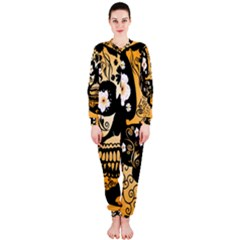 Sugar Skull In Black And Yellow Onepiece Jumpsuit (ladies)