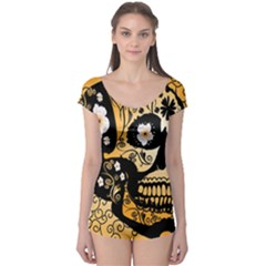 Sugar Skull In Black And Yellow Short Sleeve Leotard