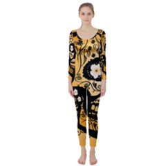Sugar Skull In Black And Yellow Long Sleeve Catsuit