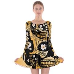 Sugar Skull In Black And Yellow Long Sleeve Skater Dress