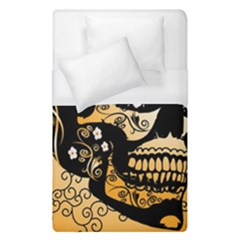 Sugar Skull In Black And Yellow Duvet Cover Single Side (single Size)