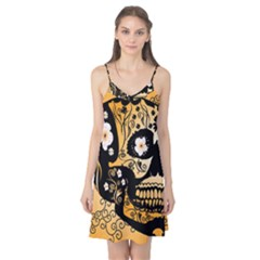 Sugar Skull In Black And Yellow Camis Nightgown