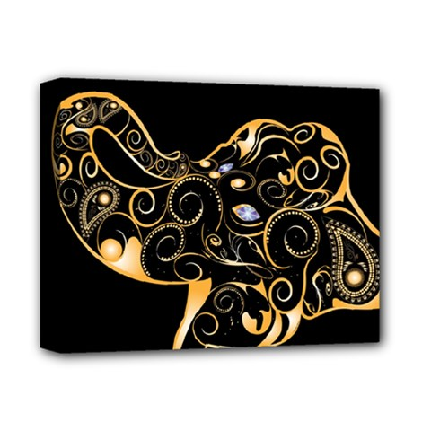 Beautiful Elephant Made Of Golden Floral Elements Deluxe Canvas 14  x 11