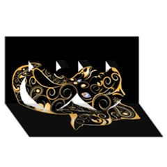 Beautiful Elephant Made Of Golden Floral Elements Twin Hearts 3d Greeting Card (8x4)