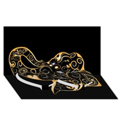 Beautiful Elephant Made Of Golden Floral Elements Twin Heart Bottom 3D Greeting Card (8x4)