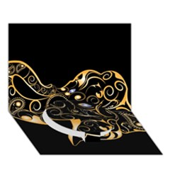 Beautiful Elephant Made Of Golden Floral Elements Circle Bottom 3d Greeting Card (7x5)