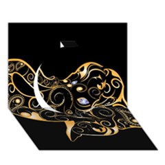 Beautiful Elephant Made Of Golden Floral Elements Circle 3D Greeting Card (7x5)
