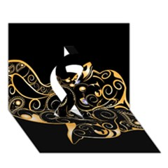 Beautiful Elephant Made Of Golden Floral Elements Ribbon 3D Greeting Card (7x5)