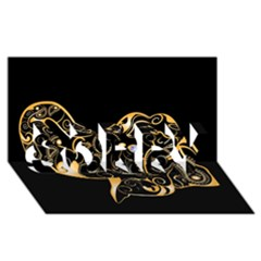 Beautiful Elephant Made Of Golden Floral Elements Sorry 3d Greeting Card (8x4)