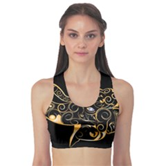 Beautiful Elephant Made Of Golden Floral Elements Sports Bra