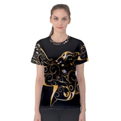 Beautiful Elephant Made Of Golden Floral Elements Women s Sport Mesh Tees