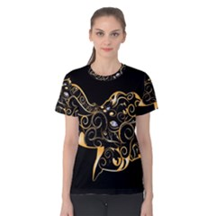 Beautiful Elephant Made Of Golden Floral Elements Women s Cotton Tees