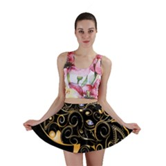 Beautiful Elephant Made Of Golden Floral Elements Mini Skirts