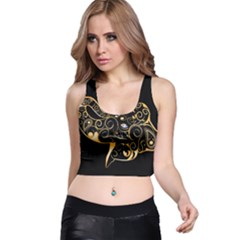 Beautiful Elephant Made Of Golden Floral Elements Racer Back Crop Tops