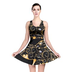 Beautiful Elephant Made Of Golden Floral Elements Reversible Skater Dresses