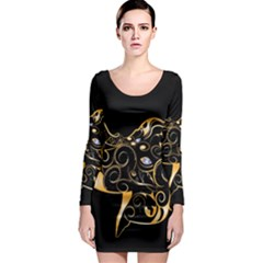 Beautiful Elephant Made Of Golden Floral Elements Long Sleeve Bodycon Dresses