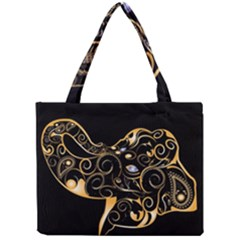 Beautiful Elephant Made Of Golden Floral Elements Tiny Tote Bags