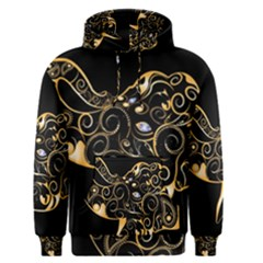 Beautiful Elephant Made Of Golden Floral Elements Men s Pullover Hoodies