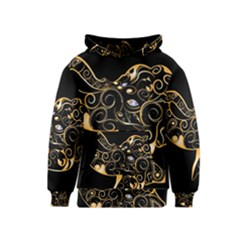 Beautiful Elephant Made Of Golden Floral Elements Kid s Pullover Hoodies