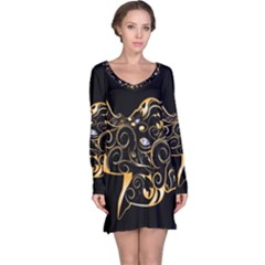 Beautiful Elephant Made Of Golden Floral Elements Long Sleeve Nightdresses