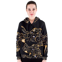 Beautiful Elephant Made Of Golden Floral Elements Women s Zipper Hoodies
