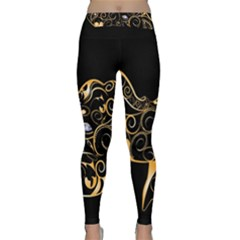 Beautiful Elephant Made Of Golden Floral Elements Yoga Leggings