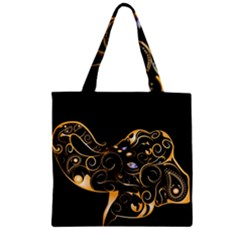 Beautiful Elephant Made Of Golden Floral Elements Zipper Grocery Tote Bags