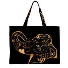Beautiful Elephant Made Of Golden Floral Elements Zipper Tiny Tote Bags