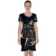 Beautiful Elephant Made Of Golden Floral Elements Short Sleeve Nightdresses