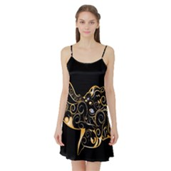Beautiful Elephant Made Of Golden Floral Elements Satin Night Slip