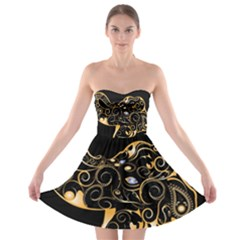 Beautiful Elephant Made Of Golden Floral Elements Strapless Bra Top Dress
