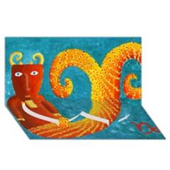 Capricorn Zodiac Sign Twin Heart Bottom 3D Greeting Card (8x4)