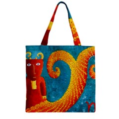 Capricorn Zodiac Sign Zipper Grocery Tote Bags