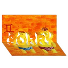 Gemini Zodiac Sign SORRY 3D Greeting Card (8x4)