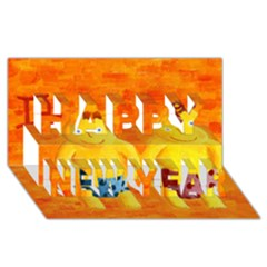 Gemini Zodiac Sign Happy New Year 3D Greeting Card (8x4)