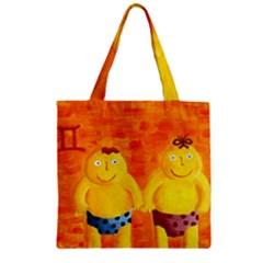 Gemini Zodiac Sign Zipper Grocery Tote Bags
