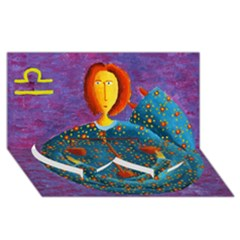Libra Zodiac Sign Twin Heart Bottom 3d Greeting Card (8x4)