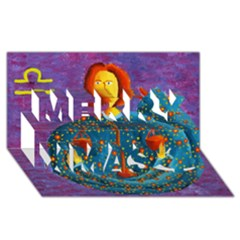 Libra Zodiac Sign Merry Xmas 3d Greeting Card (8x4)