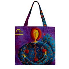 Libra Zodiac Sign Zipper Grocery Tote Bags