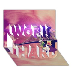Vintage Work Hard 3d Greeting Card (7x5)
