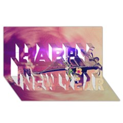 Vintage Happy New Year 3d Greeting Card (8x4)